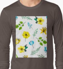Watercolor Pattern with Yellow Blue Flowers Long Sleeve T-Shirt
