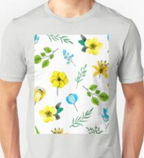 Watercolor Pattern with Yellow Blue Flowers T-Shirt