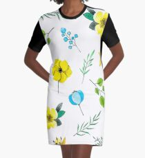 Watercolor Pattern with Yellow Blue Flowers Graphic T-Shirt Dress