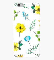 Watercolor Pattern with Yellow Blue Flowers iPhone Case
