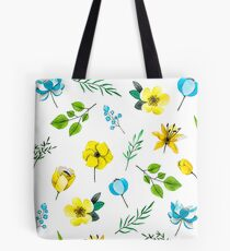 Watercolor Pattern with Yellow Blue Flowers Tote Bag