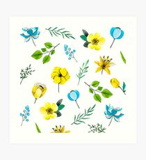 Watercolor Pattern with Yellow Blue Flowers Art Print
