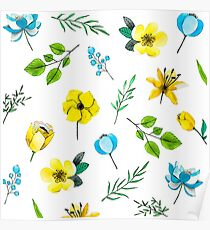 Watercolor Pattern with Yellow Blue Flowers Poster