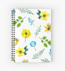 Watercolor Pattern with Yellow Blue Flowers Spiral Notebook