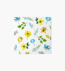 Watercolor Pattern with Yellow Blue Flowers Art Board