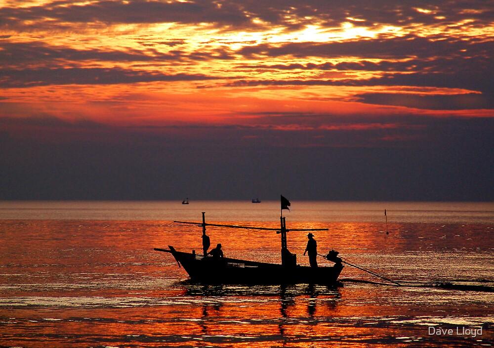 Fishing Boat At Sunrise by Dave Lloyd