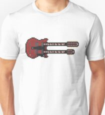 Pixel Big Red Double Neck Guitar Unisex T-Shirt