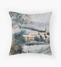 watercolor vencimont village belgium Throw Pillow