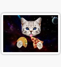 Space Cat with taco and pizza Sticker