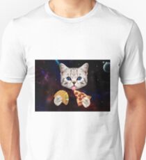 Space Cat with taco and pizza Unisex T-Shirt