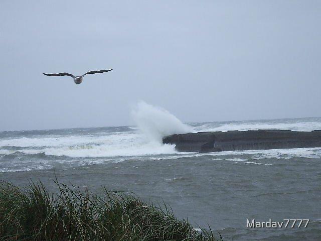 Wave Crashing Over the Jetty by Mardav7777