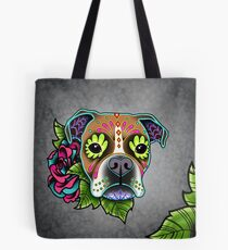 Boxer in White Fawn - Day of the Dead Sugar Skull Dog Tote Bag