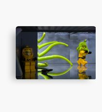 Bravely hiding from the Lego monster Canvas Print