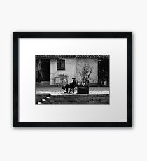 Chinese old man in black and white. Framed Print
