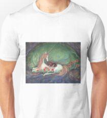 Unicorn and sleeping girl fantasy art by Liza Paizis Unisex T-Shirt