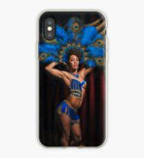 Jeez Loueez Burlesque Dancer with Peacock Headdress iPhone Case