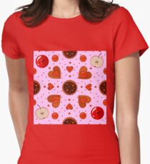 Bakery Sweets and Cookies Seamless Pattern Womens Fitted T-Shirt