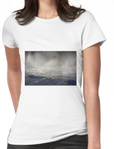 Splashing water from the ground in the park Womens Fitted T-Shirt