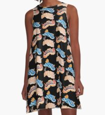 Nudibranch sea slug on black A-Line Dress