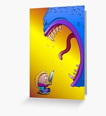 The monster and little man Greeting Card