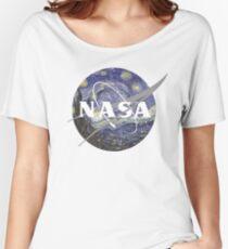 Starry Night Nasa Logo Women's Relaxed Fit T-Shirt