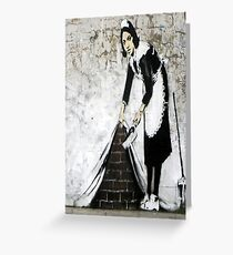 Banksy Cleaner Graffiti Wall Art Unique Banter Greeting Card