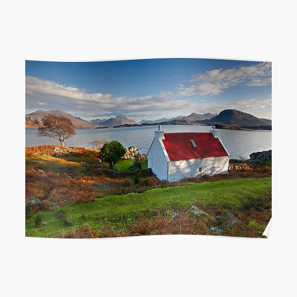 The famous Red Roof cottage at Upper Loch Torridon Scotland  Poster