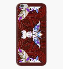 Cute alien insect - on dark red iPhone Case