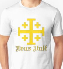 Crusader Cross - Deus Vult - Gold T-Shirt