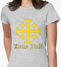 Crusader Cross - Deus Vult - Gold Womens Fitted T-Shirt