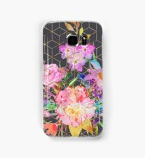 Modern watercolor floral and gold geometric cubes Samsung Galaxy Case/Skin