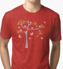 Whimsical Pink Cupcakes Tree II Tri-blend T-Shirt