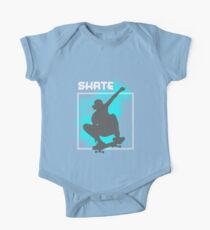 Skate Boarding Skater Silhouette Jumping Freestyle Graphic One Piece - Short Sleeve