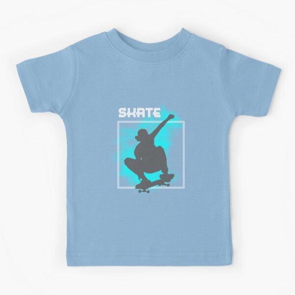 Skate Boarding Skater Silhouette Jumping Freestyle Graphic Kids T-Shirt