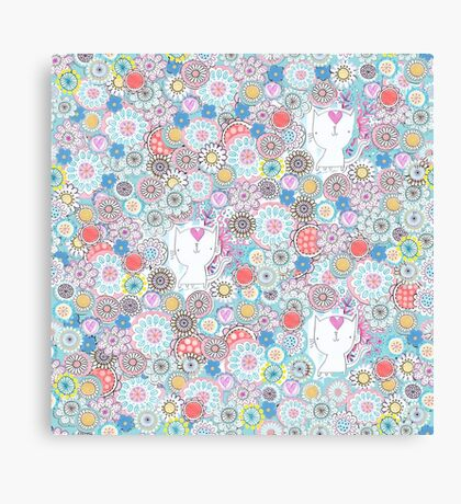 White cats hiding in the flowers Canvas Print