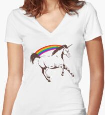 Unicorn with rainbow Women's Fitted V-Neck T-Shirt