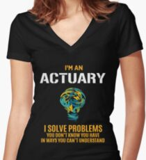 ACTUARY solve problems Women's Fitted V-Neck T-Shirt