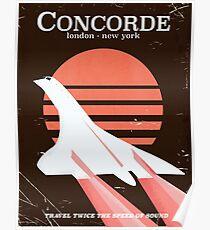 Póster Cartel de vuelo del Concorde Vintage 70