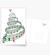 Christmas tree with music notes and heart Postcards