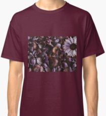 Directly above on a purple floral pattern of dried flowers. Nature backgrounds concept. Classic T-Shirt