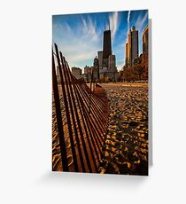 Dunes Fence leads to Chicago skyline Greeting Card