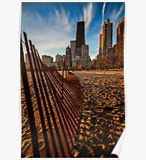 Dunes Fence leads to Chicago skyline Poster