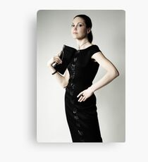 Beautiful woman in black dress photo Canvas Print