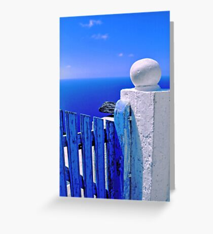 Greek blue gate with wandering clouds Greeting Card