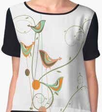 Colorful Whimsical Summer Orange Chocolate and Mint Birds with Swirls Chiffon Top