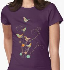 Colorful Whimsical Summer Orange Chocolate and Mint Birds with Swirls Womens Fitted T-Shirt