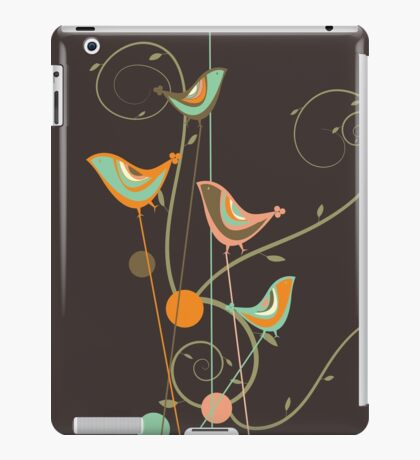 Colorful Whimsical Summer Orange Chocolate and Mint Birds with Swirls iPad Case/Skin