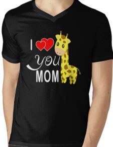 april the giraffe gift for mother Mens V-Neck T-Shirt