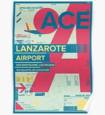 Lanzarote Canary Islands Spain Airport Travel Design Poster