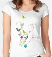 Colorful Whimsical Red Teal and Yellow Summer Birds with Swirls Women's Fitted Scoop T-Shirt